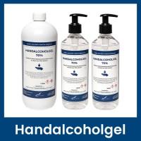 Handalcoholgel 70% - 1 liter met dop + 2 x 500ml met pomp